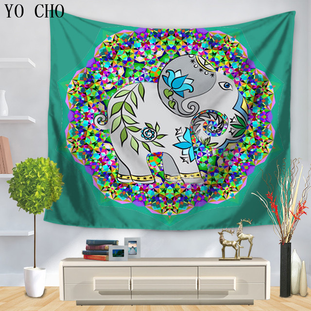 YO CHO Rich Multicolored Decorations Chubby Elephant Tapestry Hippie Home  Decor Indian Wall Hanging Boho Bedspread Wall Carpet