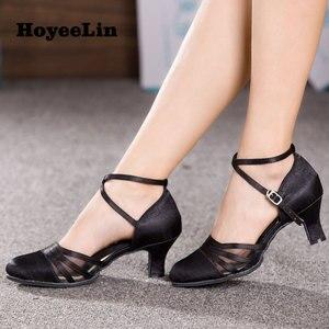 Image 2 - HoYeeLin chaussures de danse en Satin pour femmes, chaussures de bal, pour soirée, Tango et valse, talons, 5.5cm, noires, soldes