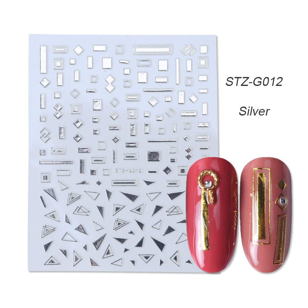 1 шт золотые Серебристые 3D наклейки для ногтей прямые изогнутые вкладыши полосы ленты обертывания геометрический дизайн ногтей украшения BESTZG001-013 - Цвет: STZ-G012 Silver