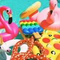 Inflatable Pool Toys Summer Fun Bali Island Swimming Ring Inflatable Donut Swan Flamingo Ride-On Floating Island Water Life Raft