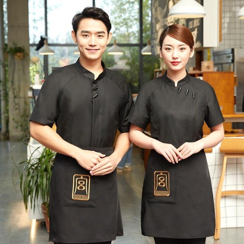 Short Sleeve Waiter Uniforms Restaurant Hot Pot Coffee Shop Chef Uniform Fast Foods Work Wear Kitchen Overalls Waitress Clothes