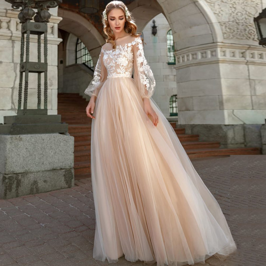 Long Sleeves Wedding Dress 2019 Champagne Tulle Skirt Vestido de Noiva Lace Appliqued Bride Dress Robe