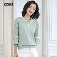 XJXKS New 2019 Summer Top Ulzzang Turn down Collar 7/10 Sleeve Women Tops Casual Women New Thin Linen Knitted T Shirts