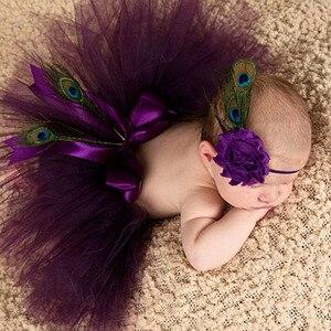 Пышная юбка-пачка и повязка на голову для новорожденных, реквизит для фотосессии для маленьких девочек, бальное платье принцессы
