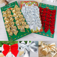 12Pcs/Pack 6cm Ribbon Bowknots Christmas Decorations for Home Cristmas Tree Charms Bows Festival Party Ornaments Xmas New Year(China)