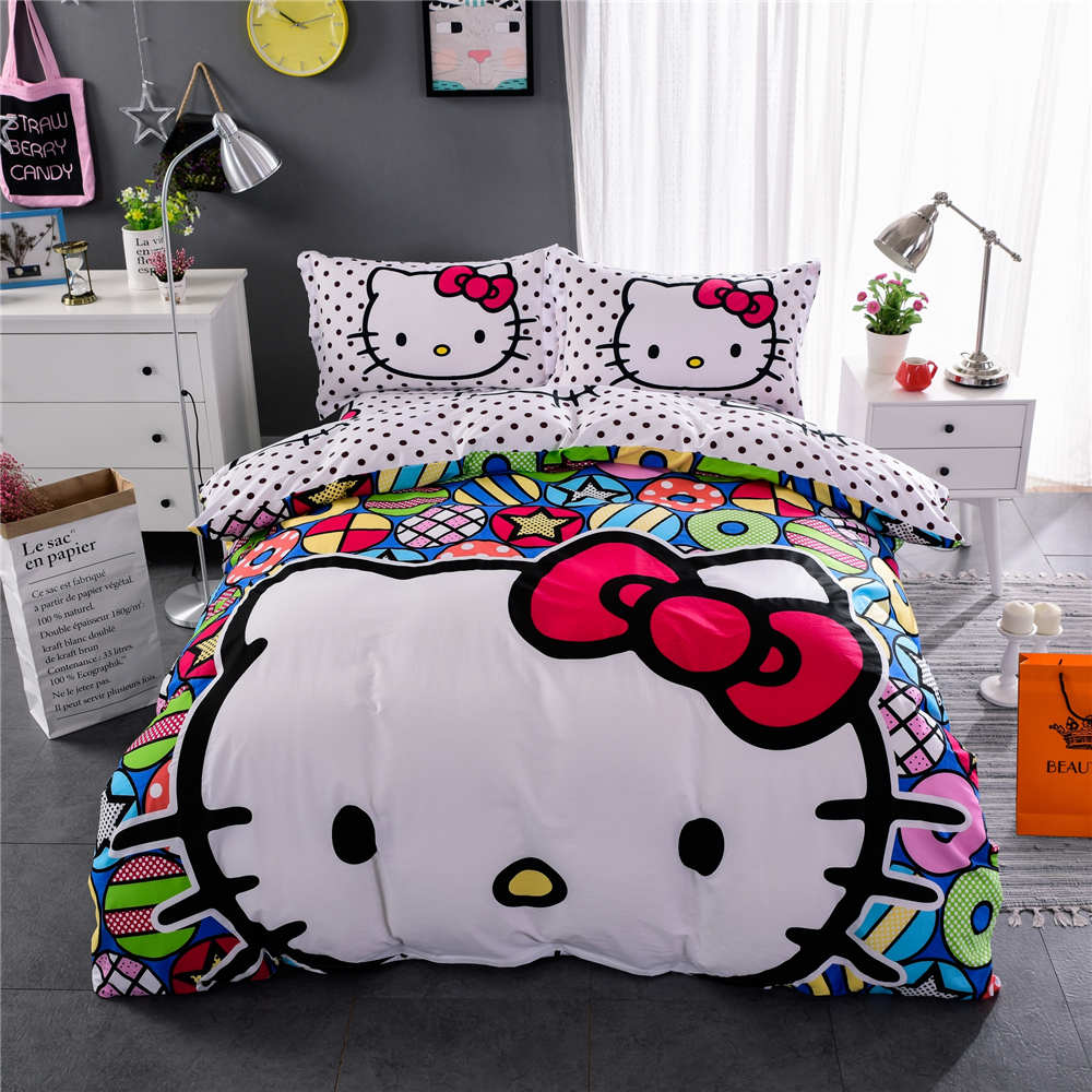 Black hello kitty bedding - Polka Dot Hello Kitty Bedding Sets Bedspreads Girl S Childrens Quilt Duvet Cover 500tc Woven Cotton