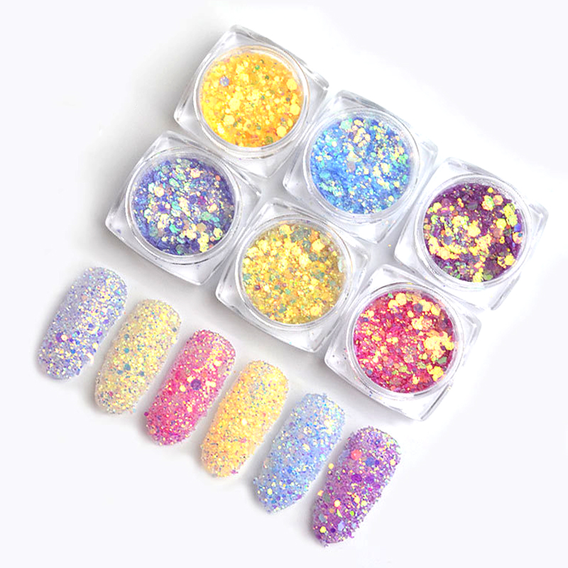 Beauty Nail Glitters Sequins Magic Under UV Light Change Color Glitters Powders Change Under Light Nail Glitters Decoration in Nail Glitter from Beauty Health