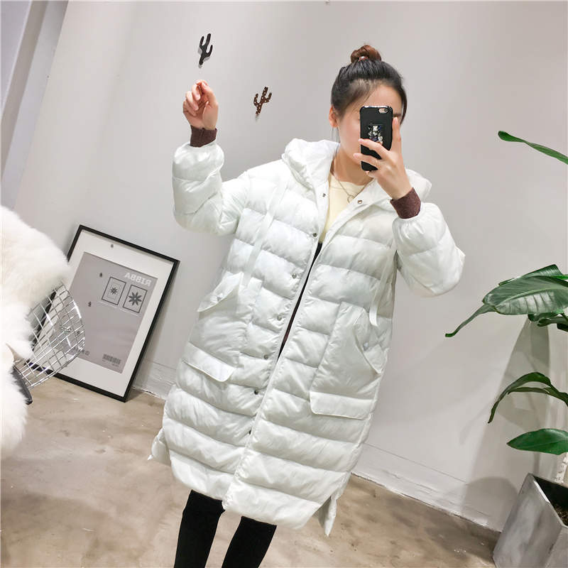 2016 Solid White Color Long Woman Winter Jacket Korean style Woman's Parka