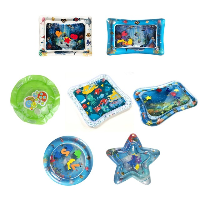 Children's Inflatable Water Cushion Pad Star Round Shape Water Play Mat Tummy Activity Center for Kids Baby Playing