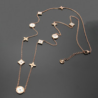 Hot Sale Round Square White Shell Flower Rose Gold Color Stainless Steel Long Necklace For Women