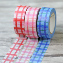 New 1x Checked Tartan Japanese Washi Tape Decorative Masking Adhesive Tape Cinta Decorativa De Tela Colores