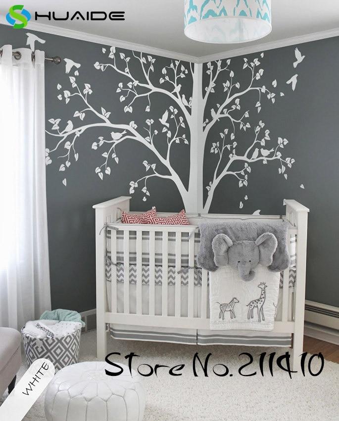 Stickers muraux arbre blanc grand arbre avec oiseaux Stickers muraux pour chambre d'enfants bébé pépinière Art Mural Vinilos Paredes Mural JW191A - 2