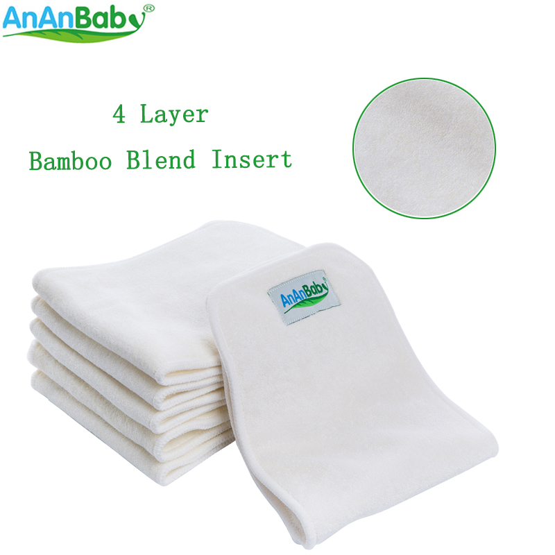 Ananbaby 4 Layer Bamboo Blend Insert Fit Cloth Diapers Inserts Nappy Changing Mat Baby Diapers Bags Reusable Diaper Changing Pad