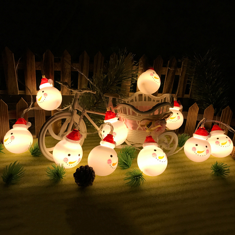 1.5M 10 Lights Christmas Gift Snowman String Lights Fairy Romantic 10 led Christmas Tree Happy Santa Home Garden DIY Decoration