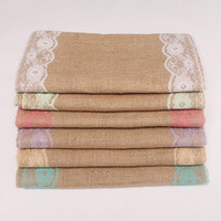 Rustic Jute Lace Wedding Accessories Table Runner Party Event Supplies Hessian Vintage Retro Burlap Decoration For