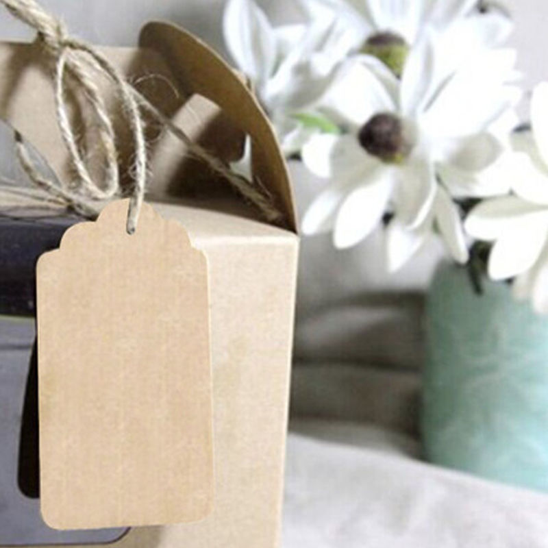 100Pc Brown 9*4.5cm Kraft Paper Gift Wedding Scallop Label Blank Product Tag DIY Stationery