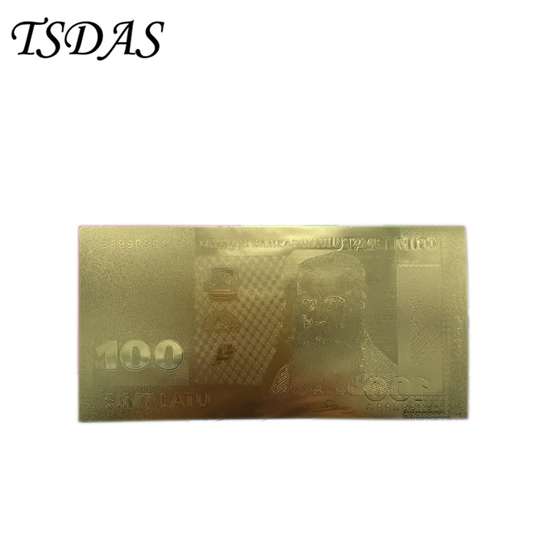 Latvia 100 Lat Banknote 24k Gold Collectible in Gold Versions , Fake Banknotes 10PCS Free Shipping
