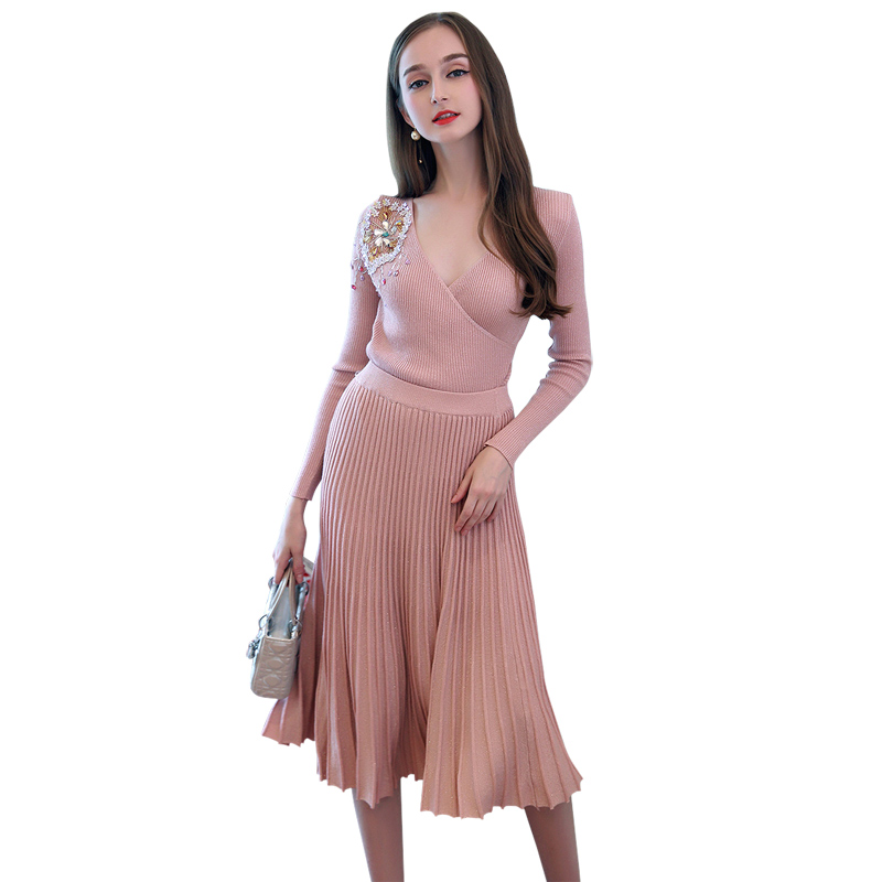 86c88549acf women s sweater sets women two piece outfits pink black knitted sexy sweater  v neck draped long sleeve knitwear + pleated skirt