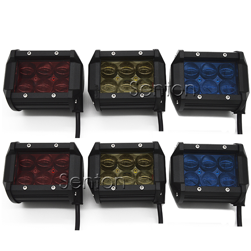 6pcs Car 18W LED Work Light Bar 12V Spot 4D Lens Red Blue Yellow For 4x4 Offroad ATV Truck Motorcycle Jeep SUV Driving Fog Lamp high quality 10w led spot work light 12v 24v car auto fog lamp motorcycle truck headlight