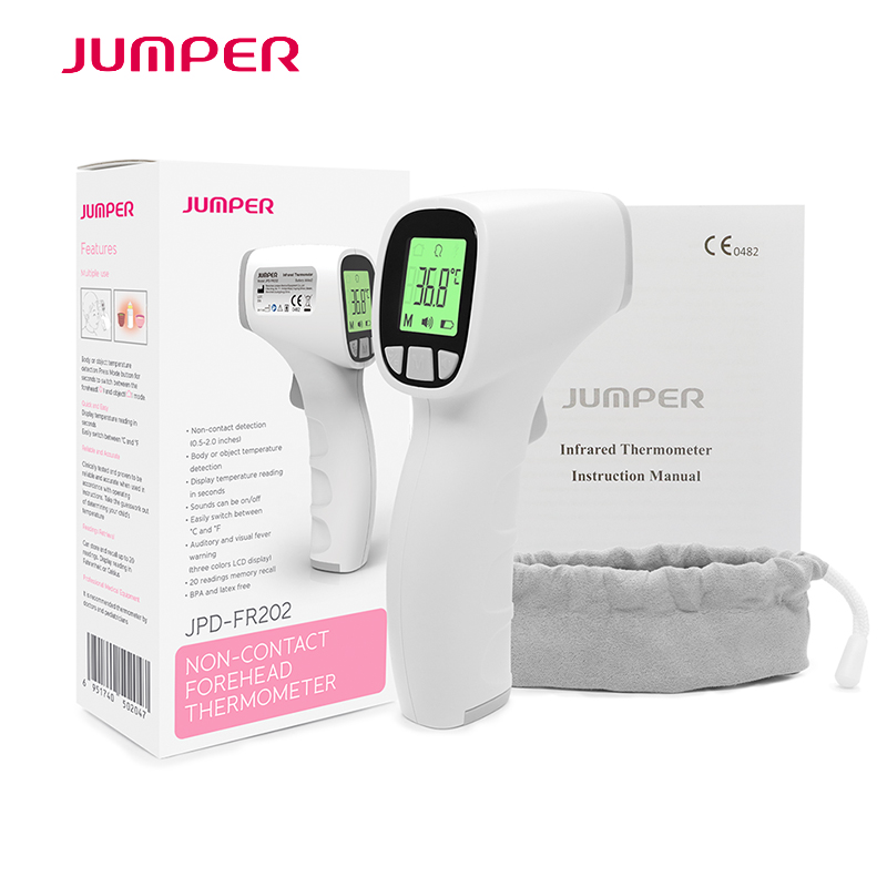 Jumper Infrared Forehead Thermometer Termometro Gun Portable Non-contact IR LCD Body Temperature Measure Device for Baby Adult cofoe forehead infrared thermometer body temperature fever digital measure meter ir non contact portable tool for baby adult