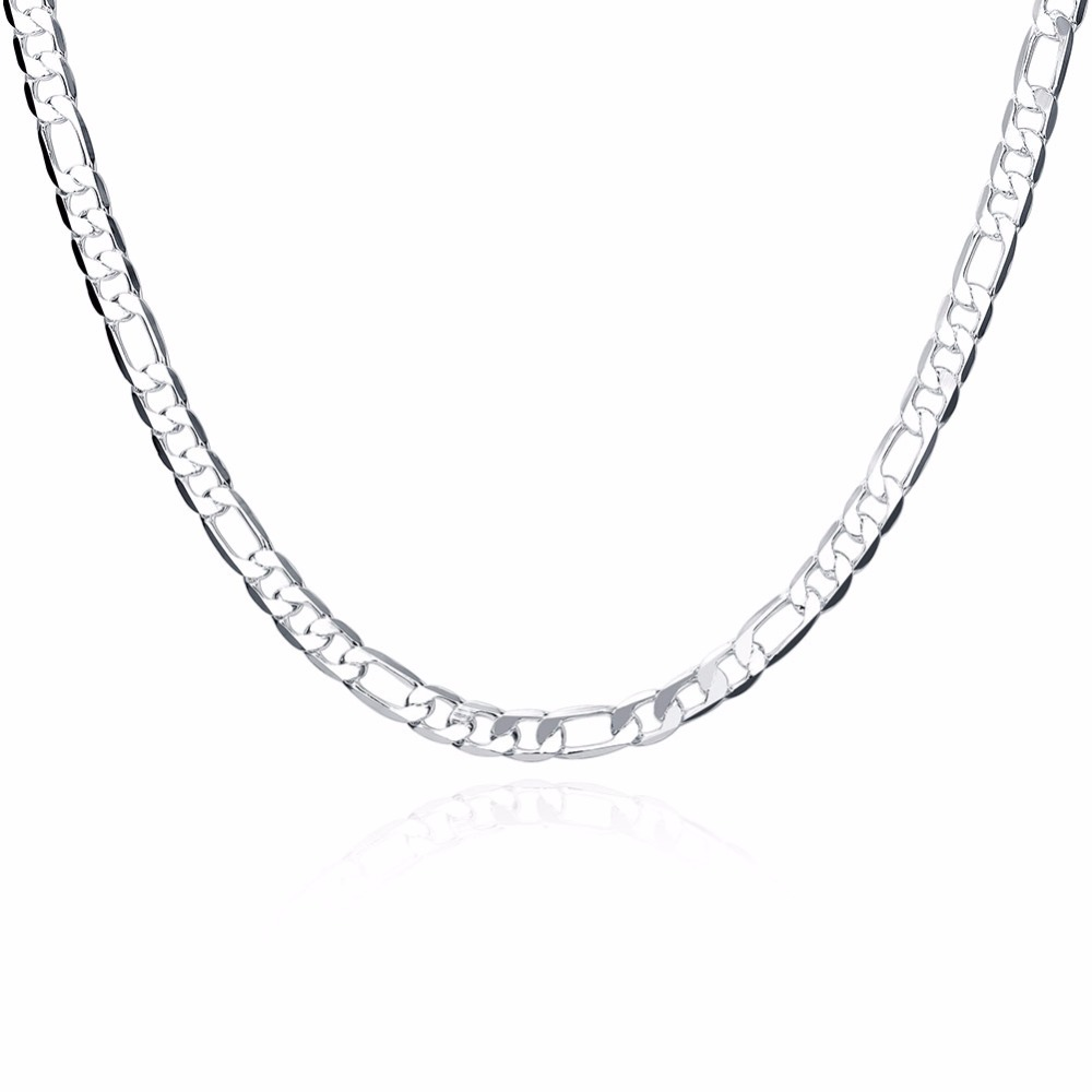 Hot 925 sterling silver jewelry men 6mm flat three a chain of 20-inch silverware accessories DIY jewelry