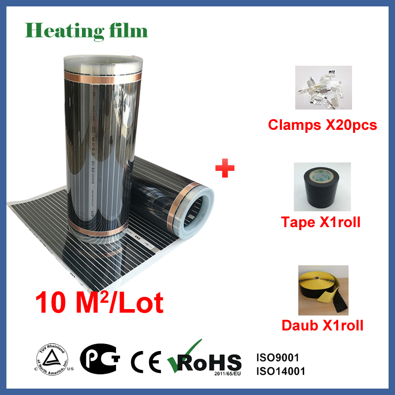 TF Far infrared floor heating film 10 square meters, 220V carbon fiber floor heating film with clamps, tape and insulating daub цена 2017