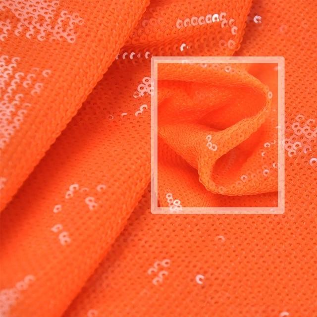 Luxury Fluorescent Orange Sequins Embroidery Cloth Glitter