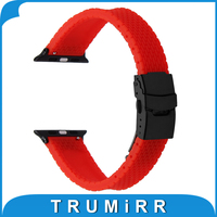 Safety Buckle Watchband Silicone Rubber Strap With Quick Release Adapter For IWatch Apple Watch 38mm 42mm