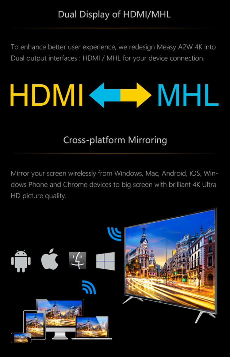 MEASY A2W 4K WiFi Display TV Dongle Stick WiFi Airplay Miracast DLNA GPS Navigation Playerfor Chromecast iOS Android Phone in stock measy a2w 4k tv dongle dual band 2 4ghz 5ghz wifi miracast airplay dlna tv stick support 4k ezcast wifi display dongle