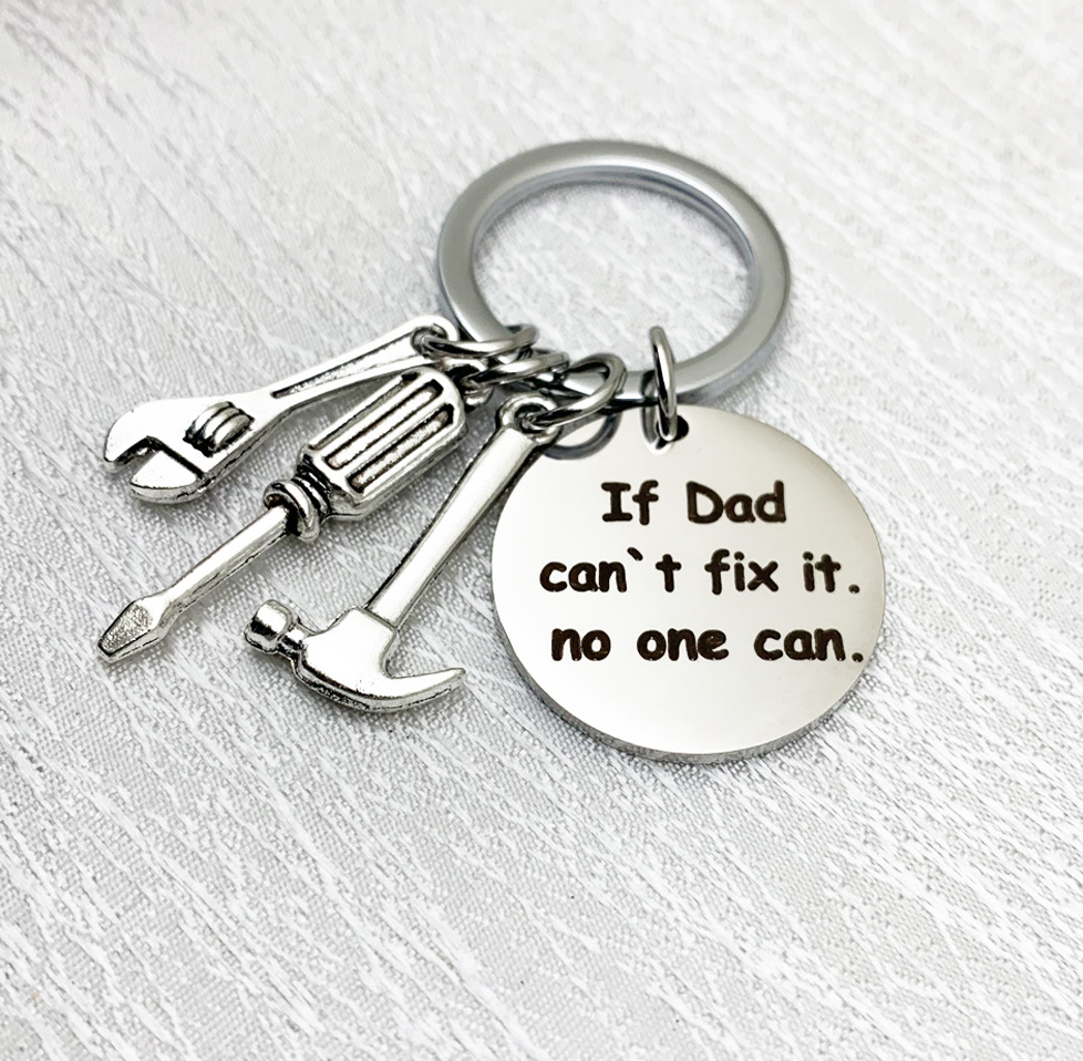 """New Tools Key Chain Hammer Screwdriver Wrench Keychain """"If Dad can`t fix it"""" Dad Tools Father's Day Gift Jewelry Key Ring K2204