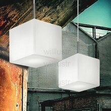 White Cube Pendant Glass Lamp, Italy design Dinning Room restaurant Hotel Office Lights
