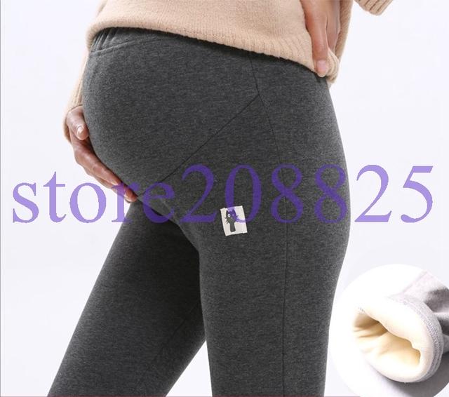 100% ALGODÃO Mulheres Leggings Engrossado Com Veludo Mulheres Grávidas Leggings Maternidade Inverno Calças Quentes Calças Moda SYHB122401