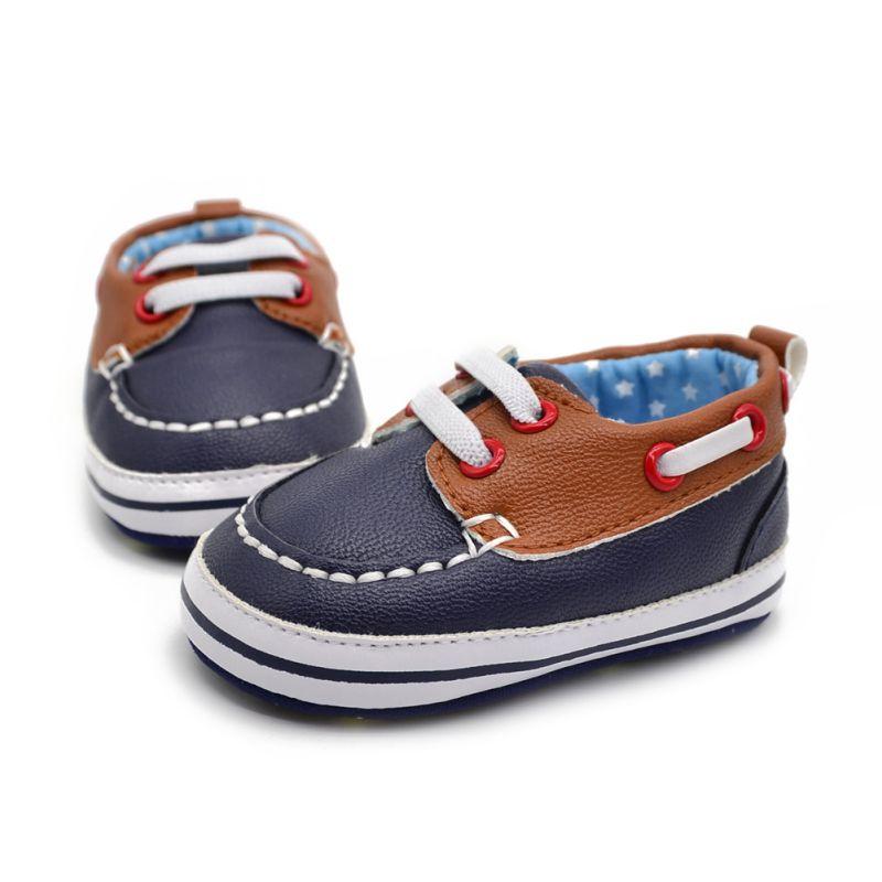 3e05df16092 Fashion Boys Baby PU Leather Laces Up Crib Shoe Anti-Slip Prewalkers Shoes