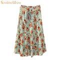 Nova marca da flor do verão saias plissadas mulheres retro cintura alta saia longa saia das mulheres flor impresso saia para feminino boêmio