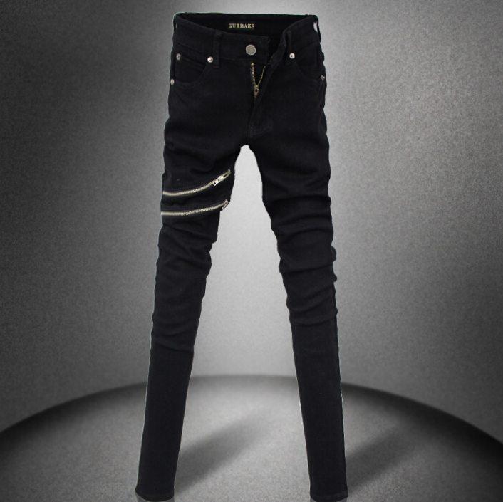 #1504 Men biker jeans With zippers Skinny Hip hop jeans Moto jeans Skinny Mens designer clothes Black jeans men Pantalon homme