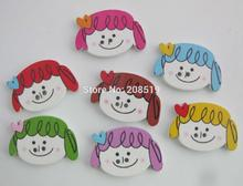 WBNALN 17MM*25MM Cutely Girls buttons for baby Mix colors 200pcs 2 hole sewing children button scrapbooking