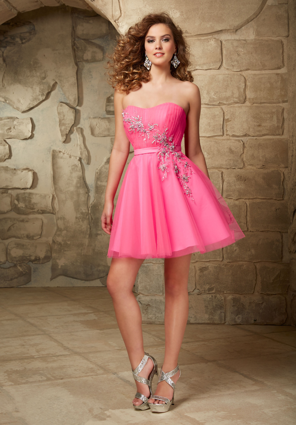 Hot Pink Puffy Purple Short Homecoming Dresses 2015 8th Grade Prom Dresses Mini Teen Formal