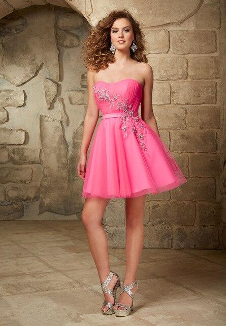 fccf87376 Hot Pink Puffy púrpura corto de fiesta vestidos de 8º grado 2015 baile  vestidos Mini adolescentes