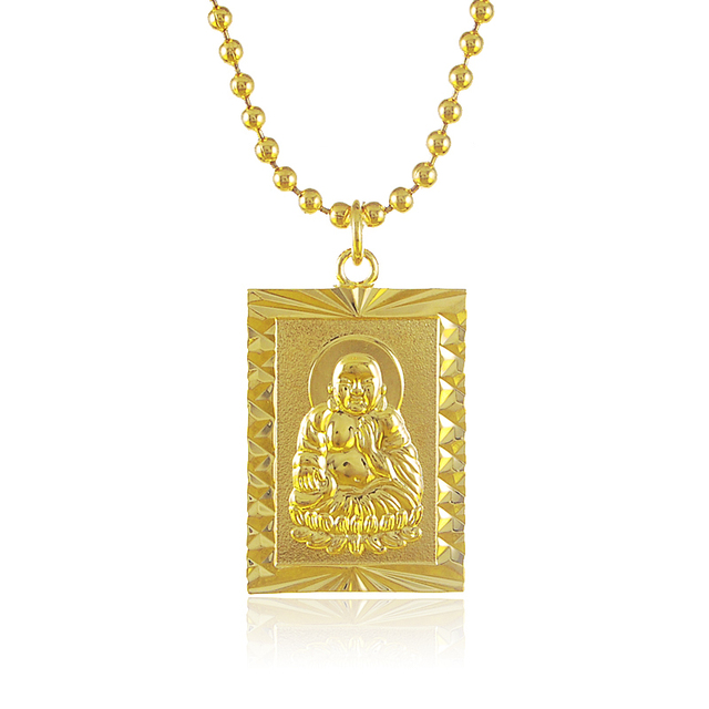 Vintage and new classic 24k gold buddha rectangle pendant beads vintage and new classic 24k gold buddha rectangle pendant beads chain necklace for menwomens aloadofball Images