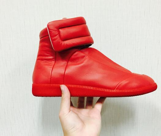 ФОТО 2017 hot selling high quality leather shoes round toe casual shoes for men Hook&Loop flat shoes men high top casual shoes red