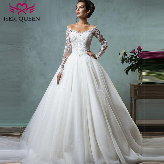 V neck Long Sleeve Illusion Tulle Wedding Dress Ball Gown Arab Plus ...