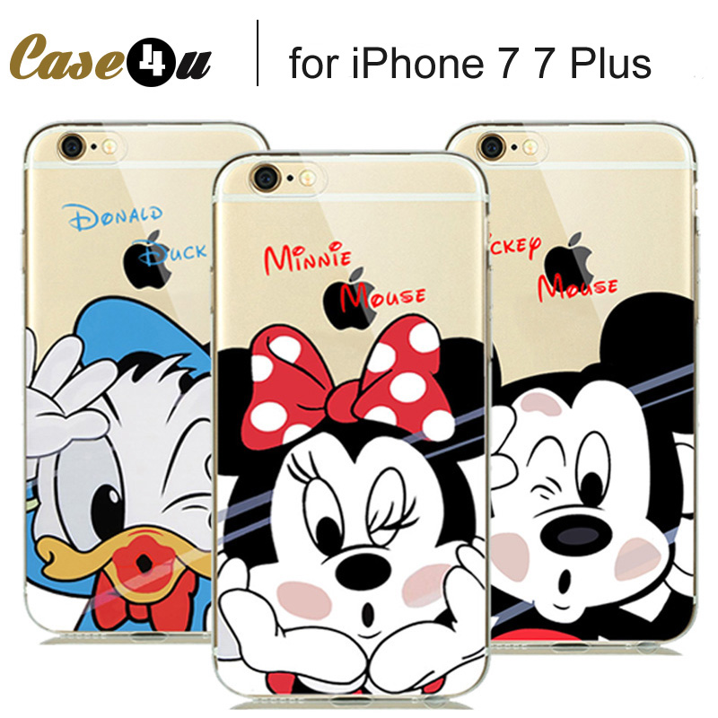 Cute Lovely Cartoon Minnie Mickey Mouse Soft Clear Case for fundas iPhone 7 7 plus iphone7 Coque Silicone Case Donald Daisy Duck