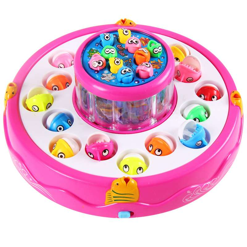 Electric Fishing Rod Rotating Dribbling Magnetic Plate Baby Educational Toys For Children Battery Operated Sounding Electronic