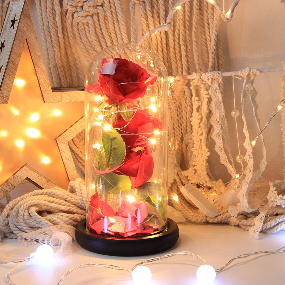 LED Flashing Luminous Artificial Preserved Rose Romantic Home Decorative Flower Wedding Birthday Valentine's Holiday Light wedding party 16 heads fake rose rattan artificial flower