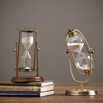 Nordic simple retro metal rotating hourglass luxury vintage sandglass creative sand clock home decor furnishing ornament