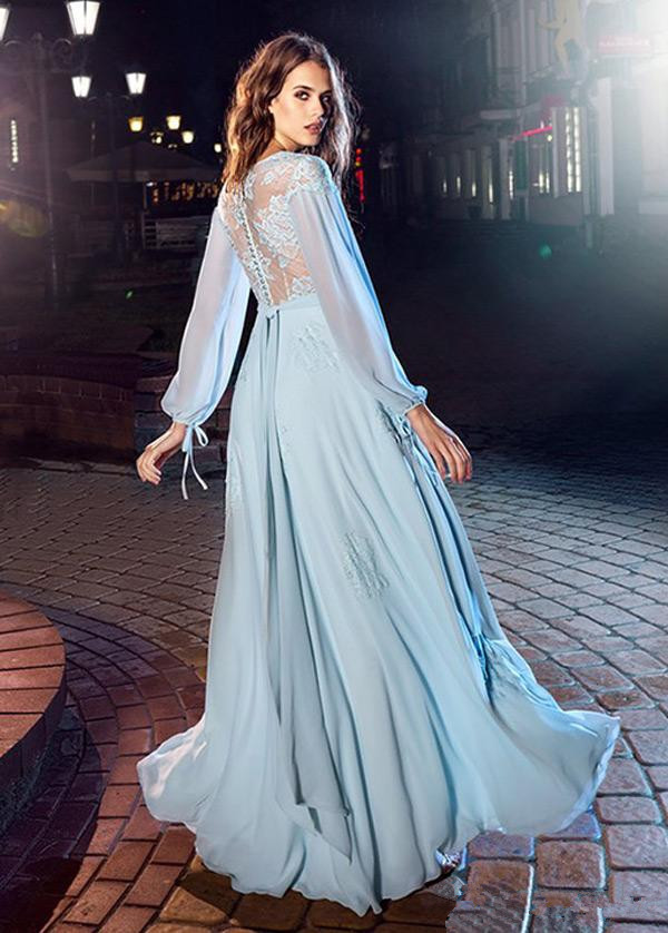 Flowing Sky Blue Chiffon A-Line Long Sleeves   Prom     Dresses   2019 V-Neck Covered Button Back Long Formal   Dresses   Lace Evening Gowns