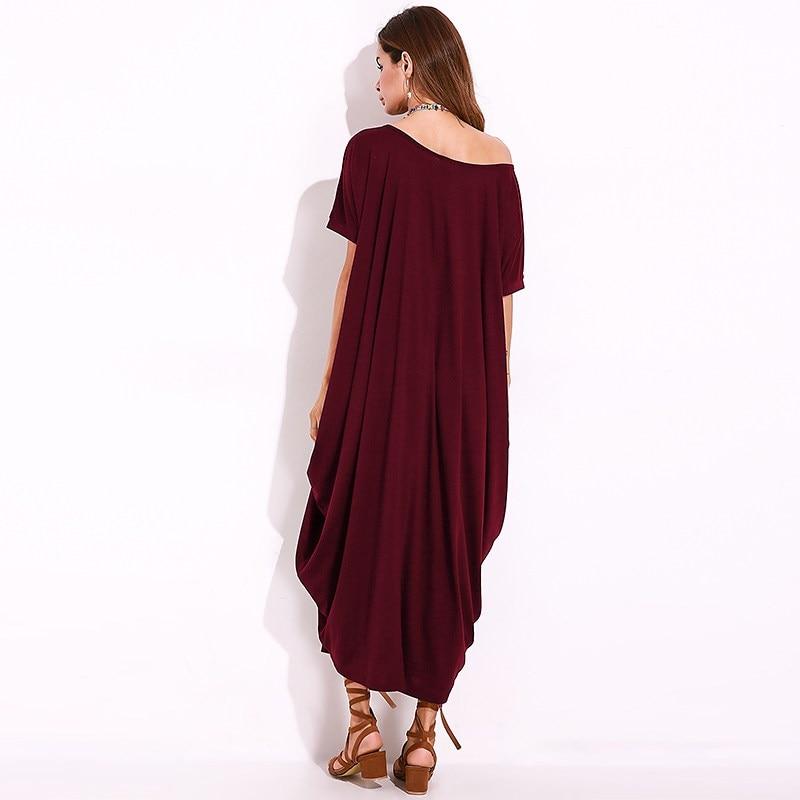 3b90b78864 2018 Summer Women One Shoulder Long Shift Dress Baggy Short Sleeve Maxi  Dresses Female Kaftan Plain Robe Femme Vestido Plus Size