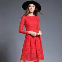 Office Lady Long Sleeves Black White Red Pink Hollow Empire Waist Lace Dress for Women's Wear of The Brand New Fall 2018 M XXXL
