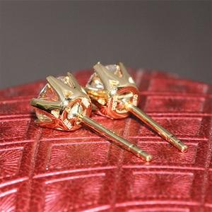 Image 5 - Doegg boucles doreilles en or jaune 585, 14K, 1 0ctw, 5mm de couleur F, créées en laboratoire, Moissanite, clous à clous en diamant, en or brillant pour femmes