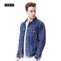 2017 Spring Summer Mens Denim Jacket Slim Fit Patchwork Solid Blue Cotton Jeans Jackets Long Sleeve